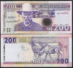Namibie 200 $ Dollars P10 1996 Un Antilope 1er Signe Unc Animal Monnaie Argent Note