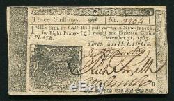 Nj-154 Le 31 Décembre 1763 3 S Trois Shillings New Jersey Colonial Monnaie Unc