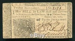 Nj-156 31 Décembre 1763 12s Douze Shillings New Jersey Colonial Monnaie Unc