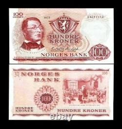 Norvège 100 Kroner P38 1977 Constitution Unc Norwegian Currency Money Bill Note