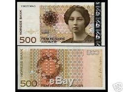 Norvège 500 Kroner 2002 Blé P51 Rose Unc Rare Monnaie Argent Bill Billets De Banque