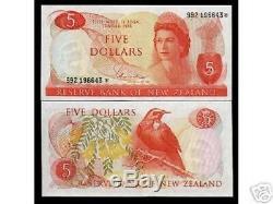 Nouvelle-zélande 5 $ P165 1977 Reine Unc Remplacement GB Royaume-uni Oiseaux Monnaie De Billets De Banque
