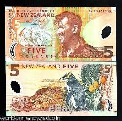 Nouvelle-zélande 5 $ P185 1999 Polymer Edmund Hillary Penguin Unc Monnaie 10 Pcs