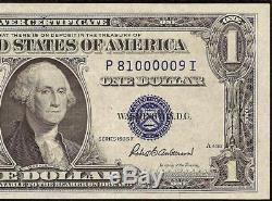 Numéro Faible 9 Unc 1935f Billette De Dollars Usd 1 Certificat Argent Note Monnaie 1615