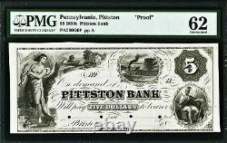 Obsolete Currency Proof 1850's Pittston, Pa- Pittston Bank $5 18 Pmg Unc. 62