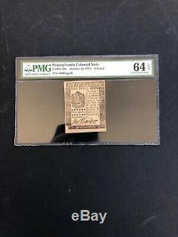 Pa-184 Le 25 Octobre 1775 À 9 Pence Devise Coloniale De Pennsylvanie Pmg64 Epq Unc