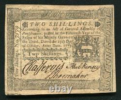 Pa-187 Le 25 Octobre 1775 2s Deux Shillings Pennsylvanie Colonial Monnaie Unc