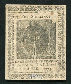 Pa-193 8 Décembre 1775 10s DIX Shillings Pennsylvanie Colonial Monnaie Unc