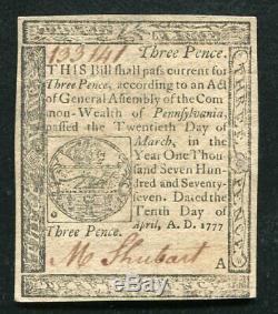 Pa-209 10 Avril 1777 3p Trois Pence Pennsylvanie Colonial Monnaie Note Unc