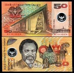 Papouasie-nouvelle-guinée 50 Kina P18a 1999 Polymere Bird Unc Monnaie Argent Projet De Loi Billet