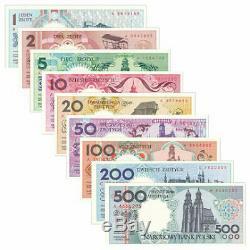 Pologne 9 Pcs Billets 1-500 Zlotych Pln Monnaie Réel Original Album Unc 1990