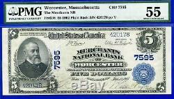 Rare 1902 5 $ Pmg Monnaie Nationale A Propos Unc 55 (worcester) # 420178