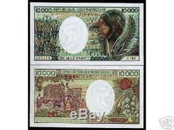 République Centrafricaine 10000 Francs P13 1983 Unc Rare Monnaie Argent Bill Remarque