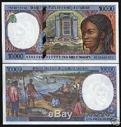 République Centrafricaine 10000 Francs P305 1999 Bateau Unc Cas Monnaie Argent Remarque