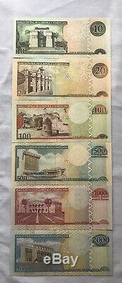 République Dominicaine 10-2,000 Pesos 6 Pièces Banknote Set 2003 Unc Monnaie
