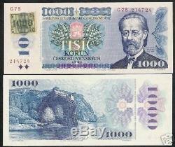 République Tchèque 1000 1000 Korun P-3 A 1993 Château Euro Unc Monnaie Banknote
