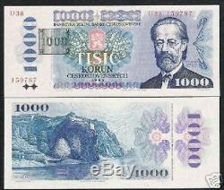 République Tchèque 1000 Korus P3 B 1993 Château Euro Unc Rare Monnaie Argent Banknote