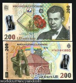 Roumanie 200 Lei P122 2007 Polymer Livre Fleur Unc Monnaie Argent Bill Billets De Banque