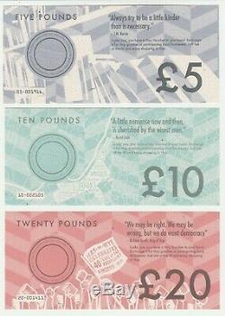 Royaume-uni Hay On Wye £ 5 5 £ 10 10 £ 20 20 £ Unc Set De Billets De Banque En Monnaie Locale 3 Pcs