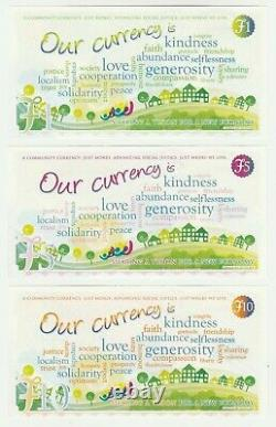 Royaume-uni Tewkesbury 1 5 10 Livres Unc Monnaie Locale Prototype Échantillon 3 Ensemble De Billets De Banque