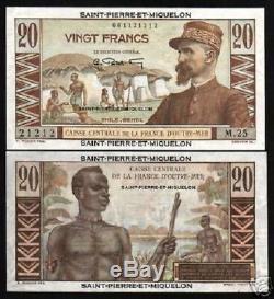 Saint-pierre-et-miquelon 20 Francs P24 1950 Hut Unc Rare Monnaie Française Argent Remarque