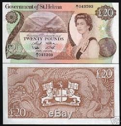 Sainte-hélène 20 Livres P10 1986 Navire Reine Lion Unc Angliae Monnaie Argent GB Remarque