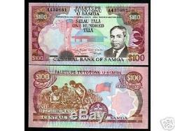 Samoa Occidentales 100 Tala P30 1990 Un Prefix Roi Unc Rare Monnaie Argent Banknote