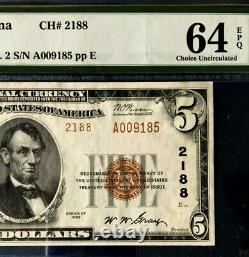 Série 1929 $5 Pmg64 Epq Choice Unc Nat Currency Citizens Nb Evansville Ty2 3386