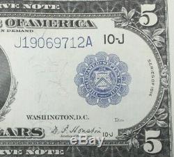 Série De 1914 $ Blue 5 Seal Unc. Etats-unis Devise Large
