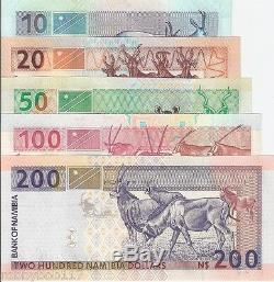 Set 5 Namibie Billets Dollars Billet Monde Argent Unc Devise Bill Afrique Billet $