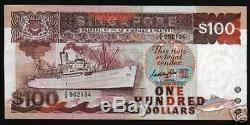 Singapour $ 100 Dollars P23 A 1995 Le Bateau Fish Avions Unc Argent Monnaie De Billets De Banque