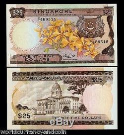 Singapour 25 Dollars 1972 Z / 1 Remplacement Orchid Unc Devise Banque Projet De Loi Note