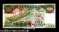 Singapour 500 $ Dollars P24 1988 Navire Forces Armées Unc Monnaie Argent Bill Note