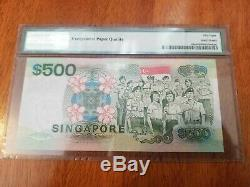 Singapour 500 Dollars P24a Pmg 58 Epq 1988 Bateau Forces Armées Unc L'argent De Change