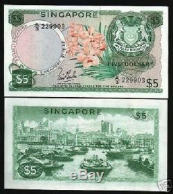 Singapour 5 Dollars 1967 P2 Bateau Orchid Rare Unc Monde Monnaie De L'argent Asean Note