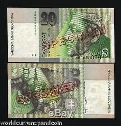 Slovaquie 20 Korun 1997 Spécimen Euro-prince Nitra Château Unc Monnaie Banknote