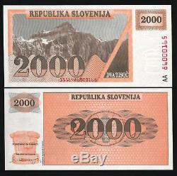 Slovénie 2000 2 000 Tolarjev P9a 1990 Euro Non Lancé Unc Rare Aa Argent En Monnaie