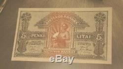 Spécimen De Billet De Banque 5 Litai Émis En 1922 Unc En Monnaie Lituanienne Extrêmement Rare