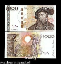 Suède 1000 Kroner P67 2005 Gustaf Vasa Threshing Unc Monnaie Facture Note
