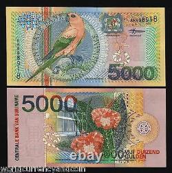 Suriname 5000 5000 Gulden P-152 2000 Serpent D'oiseau Du Millénaire Unc Note De Devise