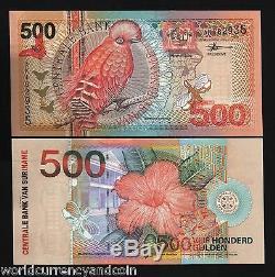 Suriname 500 Gulden P150 2000 Millénaire Unc Bird Butterfly Devise Note 10 Pcs