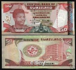 Swaziland 50 Emalangeni P22 1990 Elephant Guerrier Unc Rare Monnaie Billets De Banque