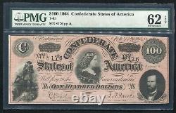 T-65 1864 100 $ Csa États Confédérés D'amérique Note De Devise Pmg Unc-62epq