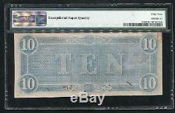 T-68 1864 10 $ Csa États Confédérés D'amérique Monnaie Remarque Pmg Unc-63epq (c)