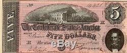 T-69 5 $ 1864 Confédéré Monnaie Csa Unc Qualité Exceptionnelle