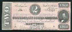 T-70 1864 $ 2 Deux Dollars Csa États Confédérés D'amérique Monnaie Remarque Unc