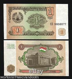 Tadjikistan 1 Rouble P1 1994 10 Bundle Russie Première Note Unc Monnaie 1000 Billets