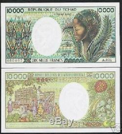 Tchad 10000 Francs P12 1984 Antelope Truck Unc Rare Monnaie Argent Bill Billets De Banque