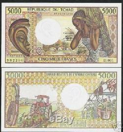 Tchad 5000 Francs P11 1984 Masque Convoyeur Bateau Unc Rare Monnaie Argent Bill Note
