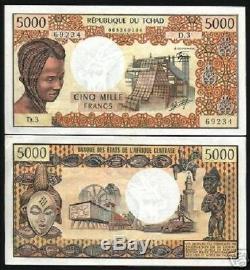 Tchad Afrique France 5000 France P5 1978 Masque Industriel Unc Remarque Monnaie Rare